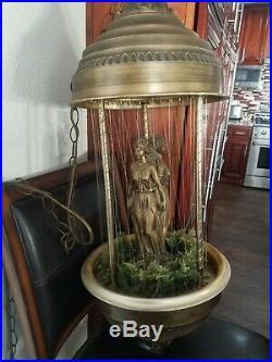 Vintage Rain Hanging Lamp Mineral Oil 3 Greek Goddess