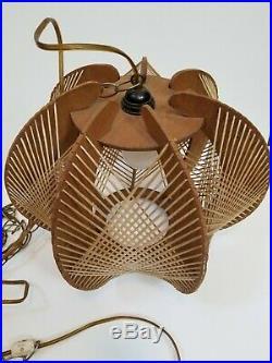 Vintage Rattan And Wooden Veneer Corded Ceiling Hanging Light Lamp