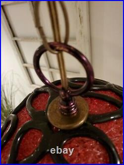 Vintage Red Lucite Spaghetti Swag Light Black Detail Hanging Lamp Mid Century