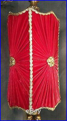 Vintage Red Velvet Gold Accent Hollywood Regency Hanging Light Lamp Swag Retro