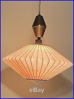 Vintage Retractable George Nelson Herman Miller Style Saucer Hanging Light Lamp