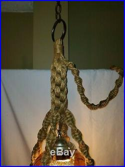 Vintage Retro Amber Swag Lamp in Macrame Floating Hanging Table