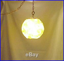 Vintage Retro Chunky Rock Candy Lucite MID Century Hanging Ceiling Swag Lamp