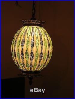 Vintage Retro Era MID Century Brass Fused Glass Swag Hanging Ceiling Lamp Nice