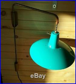 Vintage Retro Hanging Drop Cord Light Turquoise Saucer UFO Lamp Chandelier