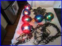 Vintage Retro Hanging Swag Lamp Light 6 Glass Globes Pendant Hollywood Regency