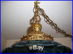 Vintage, Retro, MID Century, Blue Ribbed Pattern, Hanging Swag Lamp