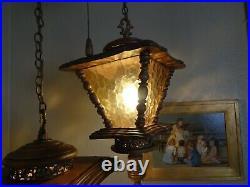 Vintage Retro MID Century Hanging Swag Lamp Light Amber Two Tier 17 Lanterns