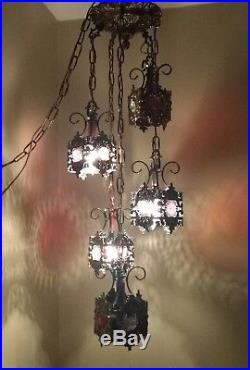 Vintage Retro Mid Century 5 Tier Filligree Swag Light Hanging Ceiling Lamp Prism