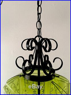 Vintage Retro Mid Century Modern Green Glass hanging Swag Lamp Light with Chain