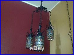 Vintage Retro Mid-century Modern Hanging Chain Lamp 3 Piece Light Fixture