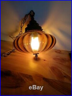 Vintage Retro Mid-century Style Amber Glass Hanging Light / Lamp