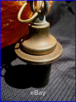 Vintage Retro ORANGE LUCITE SPUN SPAGHETTI FIBERGLASS HANGING SWAG LAMP MCM