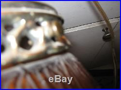Vintage Retro Orange Glass Bulb Pendant Hanging Swag Light Fixture Lamp Works