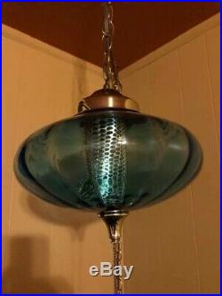 Vintage Retro Swag Light Blue & Brass Hanging Ceiling Lamp With Diffuser