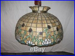 Vintage Royal Art Leaded Glass Hanging Lamp Shade