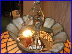 Vintage Royal Art Leaded Glass Hanging Lamp Shade