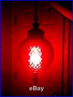 Vintage Ruby Red Cranberry Glass Swag Hanging Lamp Light Re-Wired NOT PAINT