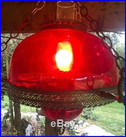 Vintage Ruby Thumbprint Glass Hanging Oil Lamp Electrified