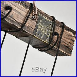 Vintage Rustic Chandelier Wood Beam Adjustable Hanging Edison Bulb Pendant Lamp