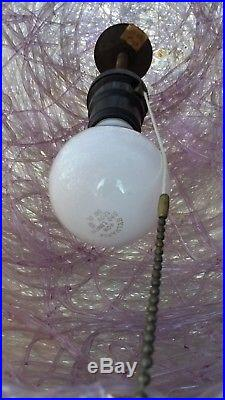 Vintage SPAGHETTI Hanging SWAG LAMP LIGHT Spun Lucite Mid Century Modern PURPLE