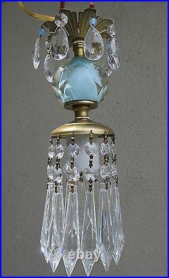 Vintage SWAG Blue aqua opaline beads Brass hanging lamp chandelier crystal prism
