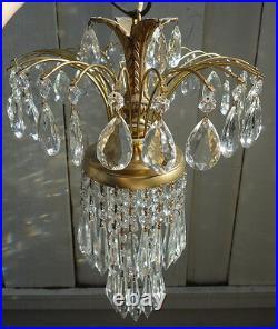 Vintage SWAG lamp crystal chandelier Hollywood Regency waterfall hanging fixture