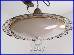 Vintage Saucer Chandelier Hanging Fixture Atomic Sputnik Danish Light Mid Centur