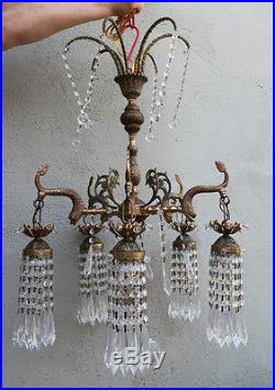 Vintage Serpent fish Brass Bronze hanging lantern glass Chandelier crystal lamp