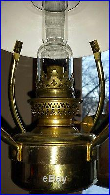 Vintage Ships Brass Hanging Marine oil Lamp Dutch Made Den Haan MWF Rotterdam