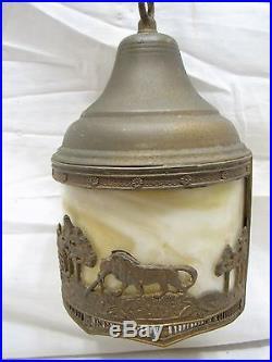 Vintage Slag Glass Chandelier Porch Lamp Light Hanging Ornate Lion House