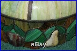 Vintage Slag Glass Hanging Chandelier Fruits Border Very Large Slag Lamp