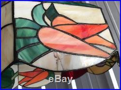 Vintage Slag Glass Hanging Light VEGETABLES KITCHEN Veggie Lamp Shade RARE