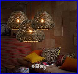 Vintage Southeast Asian Style Rattan Pendant Weaving Ceiling Lamp Hanging Light