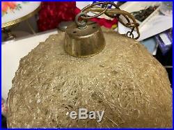 Vintage Spaghetti Hanging Swag Lamp Spun Plastic Light Retro Mid Century White