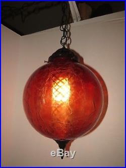 Vintage Spainish Hanging Swag Lamp Retro Gothic Black Light Red Crackle Glass