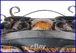 Vintage Spanish Revival Hanging Pendant Lamp Iron Caged Amber Glass Gothic Look