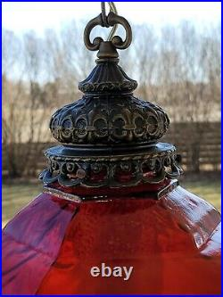 Vintage Spanish Revival Ruby Red Glass Hanging Swag Lamp Light