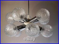 Vintage Sputnik Atomic Starburst Lamp Chandelier Hanging Light Glass Chrome 60s