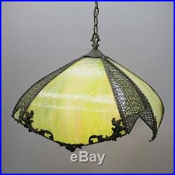 Vintage Square Stained Green/Yellow Glass Slag Hanging Lamp Ceiling Light Shade