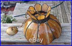 Vintage Stained Glass Caramel Hanging Chandelier Slag Lamp Light Ceiling Fixture