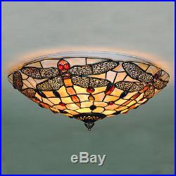Vintage Stained Glass Ceiling Lights Tiffany Style Dragonfly Hanging Lamps CL282