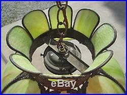 Vintage Stained Glass Green Slag Swirl Jadeite Light Hanging Lamp Fixture Shade