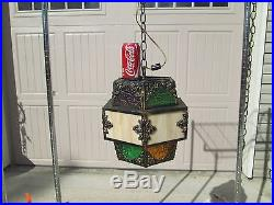 Vintage Stained Glass Hanging Swag Light Lamp Fixture Bronze Brass Gypsy Slag