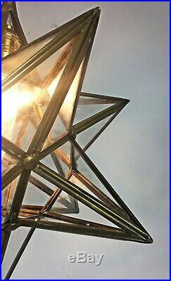 Vintage Star Brass Glass Hanging Porch Hall Lantern Ceiling Pendant Light Lamp