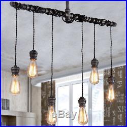 Vintage Steampunk Chandelier Light Black Metal Bar Restaurant Hanging Light Lamp