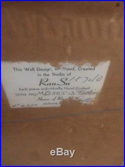 Vintage Studio of Ran Su Mid Century Modern Lamps Wood Wall Hanging 11 x 37