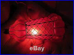 Vintage Stunning Ruby Red Glass Corset Hanging Decorative Swag Lamp Unusual