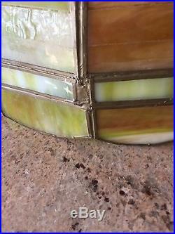 Vintage Style Green Slag Leaded Glass Hanging Lamp