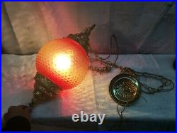 Vintage Swag Amber Glass Hanging Light & Chain Mid-Century Modern Lamp Pendant
